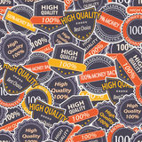 Seamless Pattern with Quality Guarantee Labels Royalty Free Stock Images