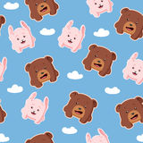 Seamless pattern with rabbit and bear. Cute cartoon vector seamless pattern with rabbit and bear Stock Image