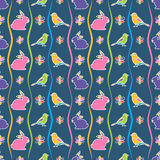 Seamless pattern with rabbit, birds and flowers. Stock Images