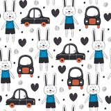 Seamless pattern with rabbit boy and car in Scandinavian style Royalty Free Stock Images