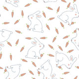 Seamless Pattern with Rabbit and Carrot Royalty Free Stock Photography