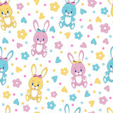 Seamless,pattern with rabbit toys,flower  Royalty Free Stock Photo