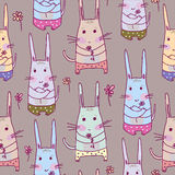 Seamless pattern with rabbits Stock Photo