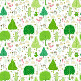 Seamless pattern with rabbits, bear and flowers. Stock Photos