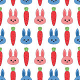Seamless pattern with rabbits and carrots Royalty Free Stock Image