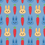 Seamless pattern with rabbits and carrots Royalty Free Stock Images