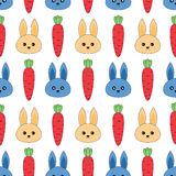 Seamless pattern with rabbits and carrots Royalty Free Stock Photo