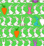 Seamless pattern of rabbits and carrots Royalty Free Stock Image
