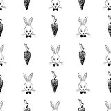 Seamless Pattern With Rabbits And Carrots. Royalty Free Stock Photo