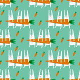 Seamless pattern with rabbits and carrots. Stock Photo