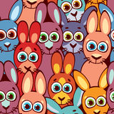 Seamless pattern with rabbits. Childish wallpaper and textile. Colorful seamless pattern of funny rabbits with big eyes. Cartoon vector illustration. Childish vector illustration