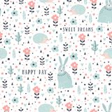 Seamless pattern with rabbits, hedgehogs and flowers in cartoon style. Vector illustration. Royalty Free Stock Photo