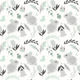 Seamless pattern with rabbits, lady bugs, birds and flowers Royalty Free Stock Image