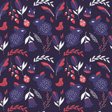 Seamless pattern with rabbits, lady bugs, birds and flowers. Vector illustration Stock Photography
