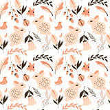 Seamless pattern with rabbits, lady bugs, birds and flowers. Vector illustration Stock Photo