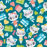 Seamless pattern of raccoon girl and colorful gift boxes  cartoon illustration for kid wrapping paper Royalty Free Stock Photos