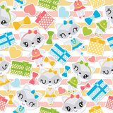 Seamless pattern of raccoon girl and colorful gift boxes on striped background  cartoon illustration Royalty Free Stock Photography