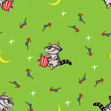 Seamless pattern with raccoon and popcorn. 3d glasses, stars and moon Stock Image
