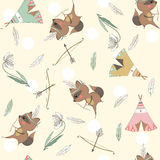 Seamless pattern with raccoons. Tribal seamless pattern with raccoons, wigwams, bow, arrows, feathers and flowers for children. Vector illustration Stock Image