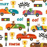 Seamless pattern with race cars and animals Royalty Free Stock Photo