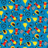 Seamless pattern with racing cars Stock Photos
