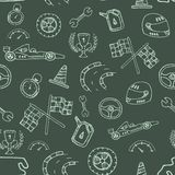 Seamless pattern racing element in a drawing style Stock Photography