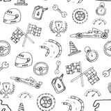Seamless pattern racing element in a drawing style. Vector Royalty Free Stock Images