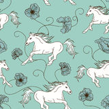 Seamless pattern of racing horses and flowers Royalty Free Stock Images