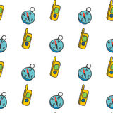 Seamless pattern with a radio and a compass Stock Images