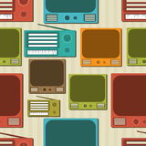 Seamless pattern with radio and television. Stock Image
