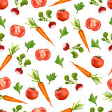 Seamless pattern with radishes, carrots and Stock Photos