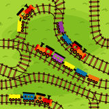 seamless pattern railway with trains Stock Photo