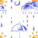Seamless pattern with rain, clouds, sun and umbrella. Watercolor seamless pattern with rain, clouds, sun and umbrella Royalty Free Illustration