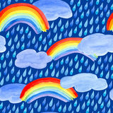 Seamless pattern with rain drops,clouds and rainbow. Watercolor hand drawn illustration.Blue background stock illustration
