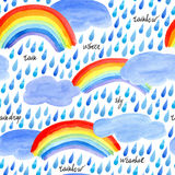 Seamless pattern with rain drops,clouds and rainbow. Watercolor hand drawn illustration.White background stock illustration