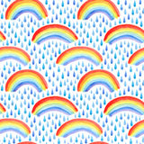 Seamless pattern with rain drops and rainbow. Watercolor hand drawn illustration.White background Stock Photo