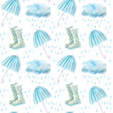 Seamless pattern of a rain drops,wellingtons,umbrella and clouds. Watercolor hand drawn illustration.White background stock illustration