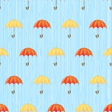 Seamless pattern with rain and umbrellas Stock Photography