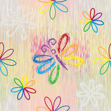 Seamless pattern with rainbow cartoon butterfly and flowers  Royalty Free Stock Image