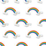 Seamless pattern with rainbow and clouds. Rainbow background Stock Photo