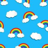 Seamless pattern with rainbow and clouds. Vector illustration vector illustration