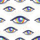 Seamless pattern with rainbow colored eyes. Flag of LGBT community inside eyeball. Vector illustration for textile stock illustration