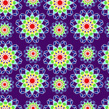 Seamless pattern with rainbow colored flowers. Repeating floral background. Vector Royalty Free Stock Image
