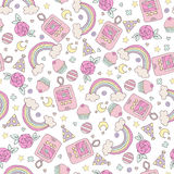 Seamless pattern with rainbow and cupcakes Royalty Free Stock Photo