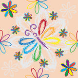 Seamless pattern with rainbow flowers and butterfly Stock Photography