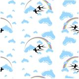 Seamless pattern rainbow, flying swallows, clouds stock vector Stock Photos