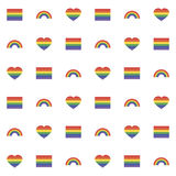 Seamless pattern with rainbow heart and flag for web Royalty Free Stock Photo