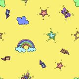 Seamless pattern with rainbow, stars, flash, lightning and butterfly on yellow background. Vector illustration. Typography design. Elements for wrapping, print Stock Images