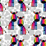 Seamless pattern with rainbow zebras Royalty Free Stock Photography