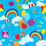 Seamless pattern with rainbows, clouds, colorful b Royalty Free Stock Images